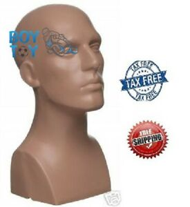 15 Tall Male Mannequin Head Durable Plastic Flesh Strong Solid Constructions