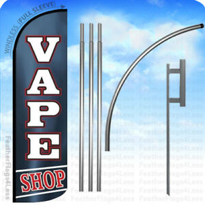 Vape Shop Windless Swooper Flag 15 Kit Feather Banner Sign Kq
