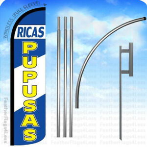 Ricas Pupusas Windless Swooper Flag 15 Kit Feather Banner Sign Bz