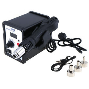New Soldering Rework Station Iron Welder Desoldering Hot Air Gun 3 Nozzles Kit