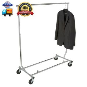 Econoco Collapsable Rolling Clothes Rack Heavy Duty Collapsible Clothing Rack
