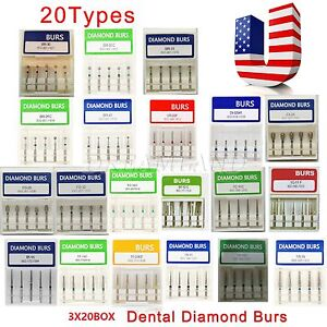 300 Dental Diamond Burs Medium Fg 1 6mm Fit High Speed Handpiece Usa Stock 60box