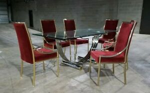 Mcm Romeo Rega Chrome Brass Dining Table 6 Chairs Ask For Shipping Quote