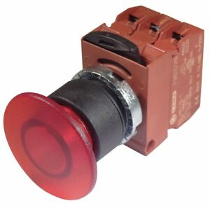 Ge Illuminated Push Button Operator Red Momentary Action 24vac dc Lamp