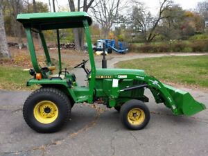 John Deere 855 Diesel Tractor With Loader Cab Snow Plow And Mowing Deck