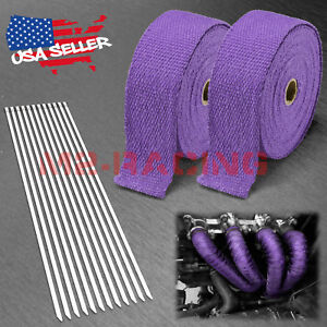 2 Rollx2 50ft Purple Exhaust Thermal Wrap Manifold Header Isolation Heat Tape