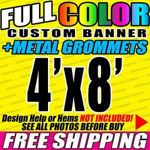 4x8 Custom Banner Full Color Printing 13oz Vinyl Banner Free Shipping Vlu