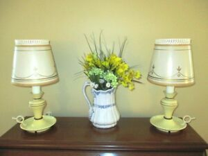 Vintage Pair Cream Tole Style Mid Century Country Bedroom Table Reading Lamps