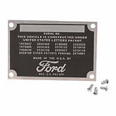 1948 1949 1950 1951 1952 Ford Pickup Truck Data Plate