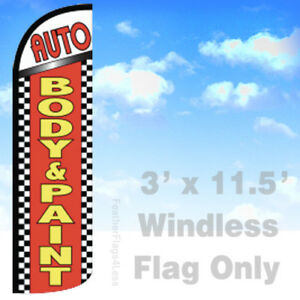 Auto Body Paint Windless Swooper Feather Flag 3x11 5 Banner Sign Rq
