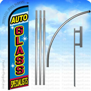 Auto Glass Windless Swooper Flag 15 Kit Feather Banner Sign Bf