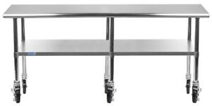 14 X 84 Stainless Steel Work Table W Wheels Food Prep Nsf Utility Bench