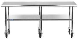 14 X 96 Stainless Steel Work Table W Wheels Food Prep Nsf Utility Bench