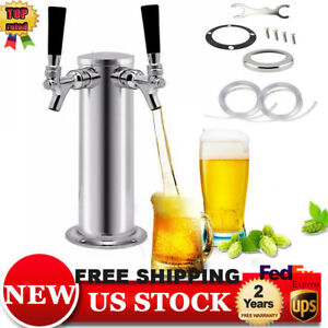 Double Tap Stainless Steel Draft Beer Tower Dual Chrome Faucet Tower Kegerator