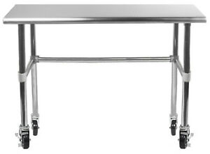 Stainless Steel Work Table With Open Base Wheels 14 X 30 Food Prep Nsf