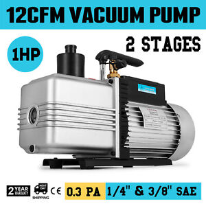 Vacuum Pump 12cfm 2 stage 1hp Rotary Vane 1 4 And 3 8 Hvac Ac Air Refrigerant