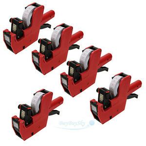 5x Mx 5500 8 Digits Price Tag Gun 5000 White W Red Lines Labels 1 Ink