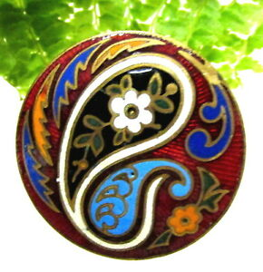 Stunning French Champleve Enamel Buttons With Paisley Design G114