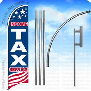 Income Tax Service Windless Swooper Flag 15 Kit Feather Banner Sign Usa Bb