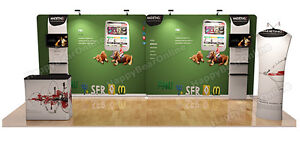 Trade Show A7 Display Booth Package 20ft tv Stand 32 Lcd Display Shelves