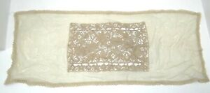 Antique Old Victorian Lace Dresser Table Cloth Vanity White Decorative Floral
