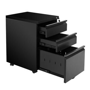 3 Drawer Mobile File Cabinet With Keys And Lock Fully Wheels Us Seller