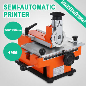 Semi automatic Sheet Embosser Nameplate Metal Stamping Printer Mark Machine 4mm
