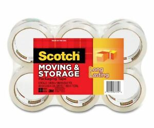 Scotch 3650 6 Moving Storage Packaging Tape Clear 1 88 X 54 6 Yd 6 rolls