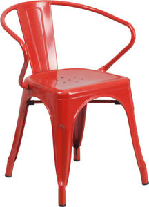 Lot Of 24 Red Metal Indoor outdoor Chair With Arms