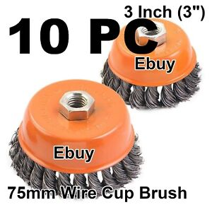 10pc 3 X 5 8 11 Nc Fine Knot Wire Cup Brush Twist For Angle Grinders Wheel