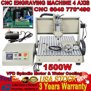 4 Axis 6040 Cnc Router Engraving Machine Engraver Wood 1500w Ball screw Desktop