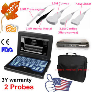 New Fda ce Portable Ultrasound Scanner Laptop Machine 2 Probe 3y Warranty Contec