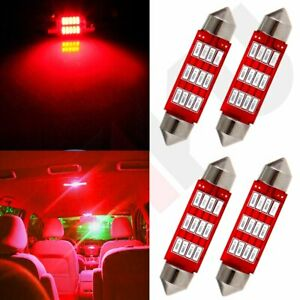 4x 41mm Red Light Bulb 4014 12smd Car Led Interior Festoon Dome Map License Lamp