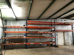 Used Teardrop Pallet Rack Shelving 8 And 12 Beams 12 Uprights Wire Decking