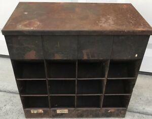 Vtg 40s Metal Bolt Gravity Feed 12 Bin Hardware Store Display Industrial Cabine