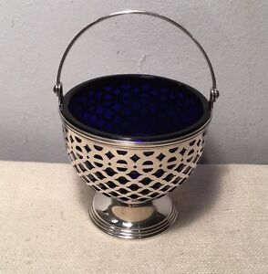 Tiffany Co Antique Pierced Sterling Silver Cobalt Blue Glass Basket