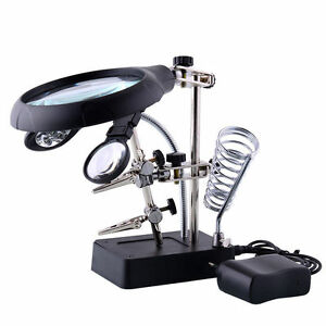 Helping 2 Led Hand Soldering Stand Light Magnifier Magnifying Glass Lens Mg16129