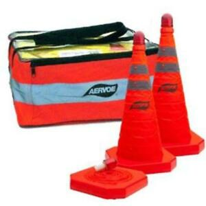 28 Inch Collapsible Traffic Cone Kit 3 pack With Led Blinking Light Aervoe