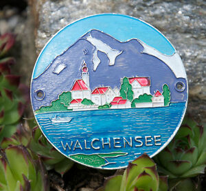 Vintage German Automobile Car Radiator Badge Walchensee Alps Lake Germany