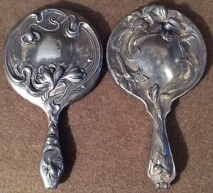 Antique Pair Art Nouveau Ornate Sterling Silver Plated Water Lilies Hand Mirror