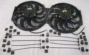 Dual 12 S Blade High Performance Electric Radiator Cooling Fans Mounting Kit