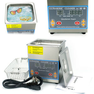 2l Liter Industry Heated Ultrasonic Cleaner Heater Timer Stainless Steel Us