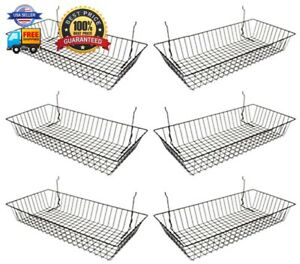 Black Wire Basket For Pegboard Slatwall Or Gridwall set Of 6 Merchandiser Ba