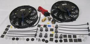 Dual 9 Curved S blade Electric Radiator Cooling Fans Thermostat Install Kit