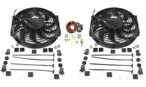 Dual 12 S blade Heavy Duty Electric Radiator Cooling Fan Thermostat Relay Kit