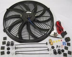 16 Electric Curved S Blade Cooling Radiator Fan 210 Deg Thermostat Mount Kit