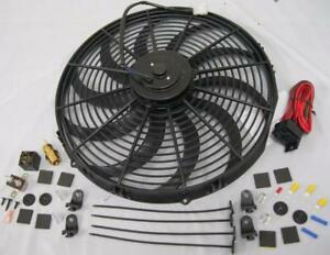 16 Electric S blade Extreme Duty Cooling Radiator Fan Thermostat Relay Kit