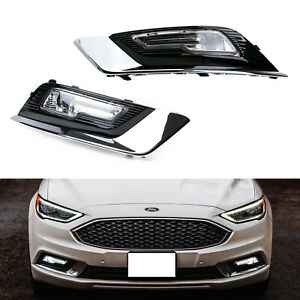 Complete Oem spec Led Fog Driving Lamps W bezel Wiring For 2017 up Ford Fusion
