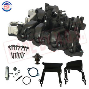 Upper Engine Intake Manifold W Thermostat Gaskets Kit For Ford E150 E250 4 6l