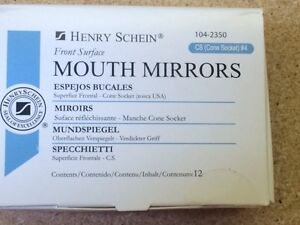 Dental Henry Schein Mouth Mirror Front Surface Cone Socket 4 12 box